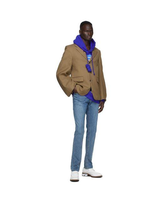 メンズ we11done ブルー スタック ロゴ フーディ Blue