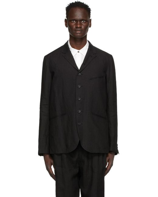 The Viridi-anne Black Linen Broad Blazer for men