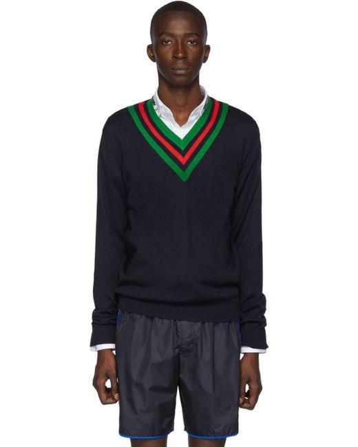 メンズ Gucci ネイビー ウール ウェブ V ネック セーター Blue