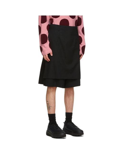 メンズ Comme des Garçons ブラック Skirted ショーツ Black