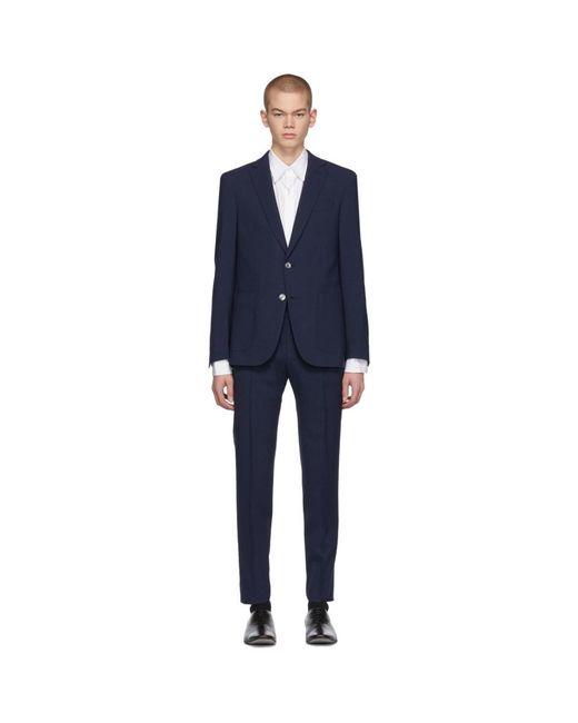 BOSS - Blue Navy Check Nalton Pirko Slim Suit for Men - Lyst
