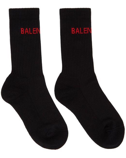 Balenciaga ブラック ロゴ テニス ソックス Black