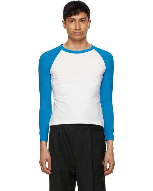 メンズ we11done ホワイト & ブルー ロング スリーブ T シャツ Blue