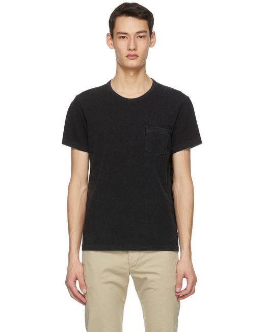 メンズ RRL ブラック ポケット T シャツ Black
