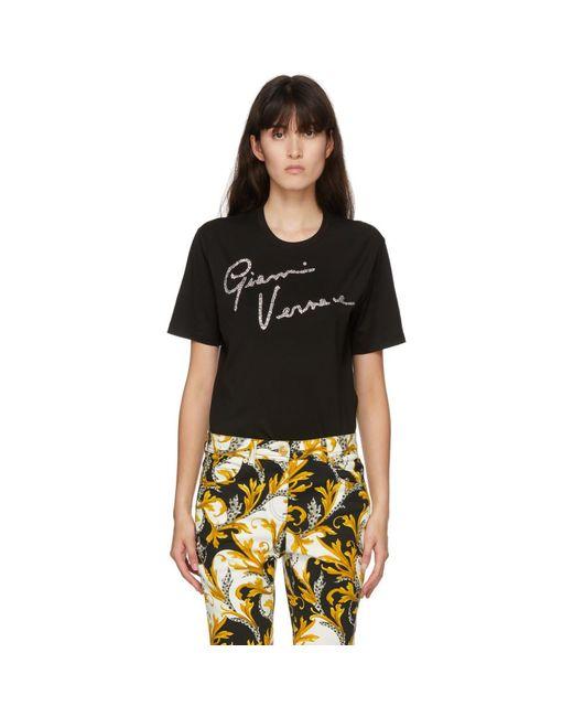 Versace ブラック クリスタル Gv シグネチャ T シャツ Black