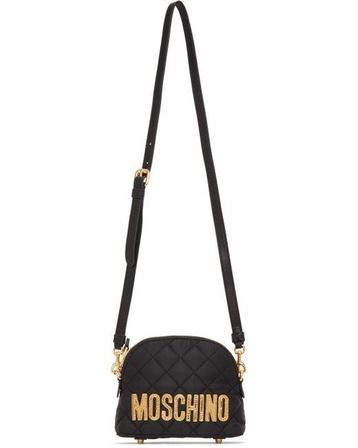 Moschino ブラック Quilted ロゴ ショルダー バッグ Black
