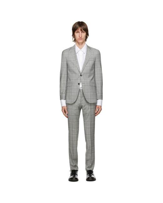 メンズ BOSS by Hugo Boss グレー チェック Novan6 Ben2 スーツ Gray