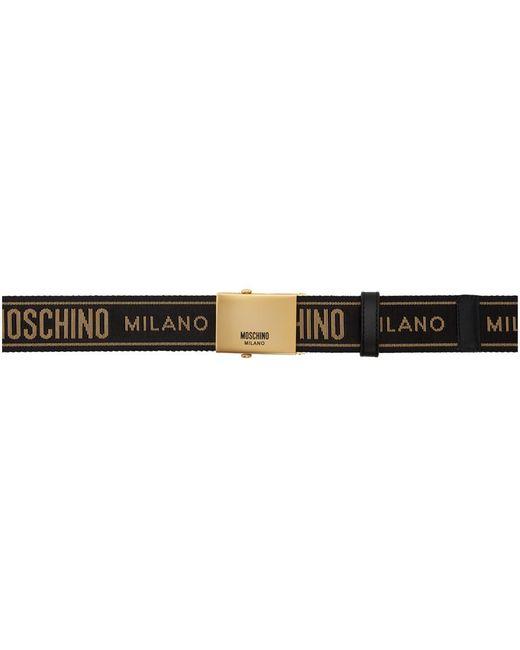 メンズ Moschino ブラック And ゴールド プリント ベルト Black