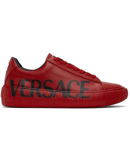 Versace Red Greca Logo Sneakers for men
