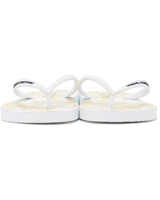 メンズ Versace Jeans ホワイト & ゴールド Baroque ロゴ ビーチ サンダル White