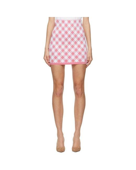 Balmain ピンク And ホワイト ギンガム ミニスカート Pink