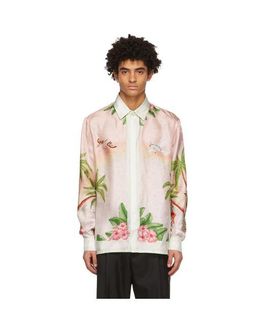 メンズ CASABLANCA ピンク シルク Surf Club シャツ Multicolor