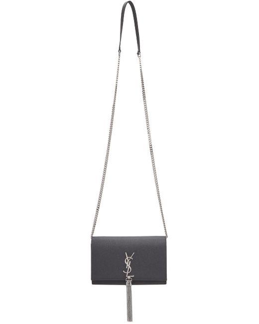 Saint Laurent グレー Kate Tassel Chain Wallet バッグ Gray