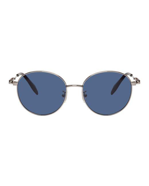 メンズ Alexander McQueen シルバー オーバル メタル ピアシング サングラス Metallic