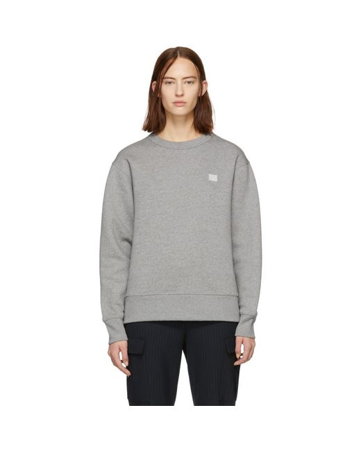 Acne - Gray Grey Oversized Fairview Face Sweatshirt - Lyst