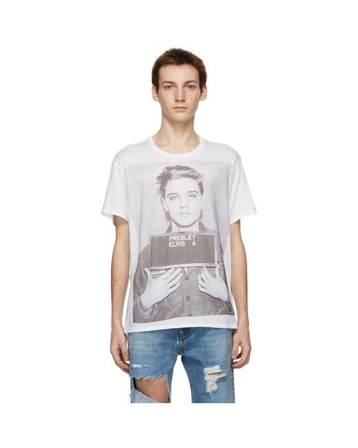 メンズ R13 ホワイト Elvis Mugshot Boy T シャツ White
