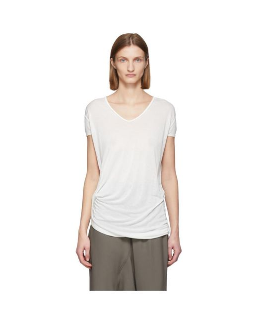 Rick Owens ホワイト シルク Hiked T シャツ White