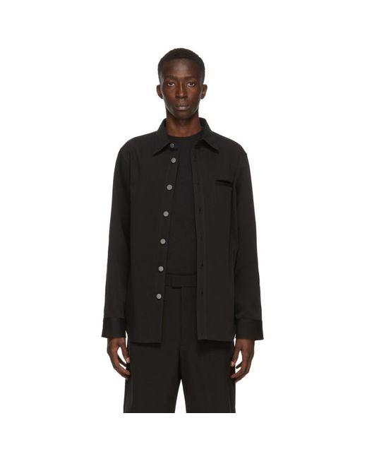メンズ Bottega Veneta ブラック キャンバス シャツ Black