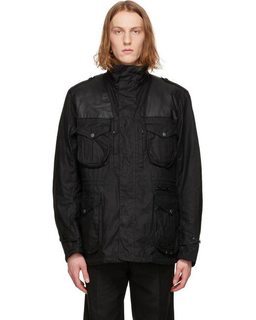 メンズ Barbour ブラック Supa-corbridge ワックス ジャケット Black