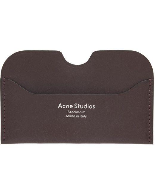メンズ Acne ブラウン ロゴ カード ケース Brown