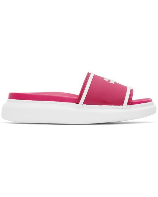 Sandales en caoutchouc à logo roses et blanches Alexander McQueen en coloris Pink
