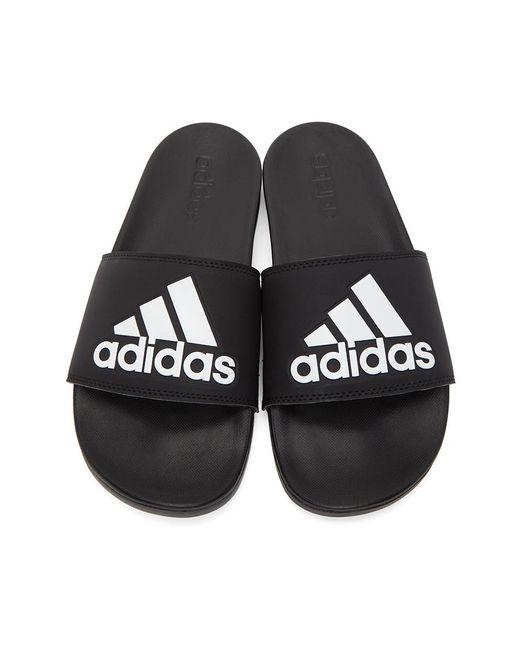 メンズ Adidas Originals ブラック And ホワイト Adilette コンフォート スライド Black