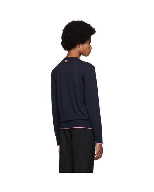 メンズ Thom Browne ネイビー カシミア クラシック クルーネック セーター Blue
