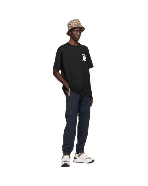 メンズ Burberry ブラック Tb モノグラム Emerson T シャツ Black