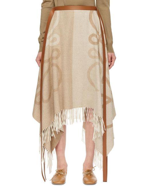 Loewe ベージュ Blanket アナグラム スカート Natural