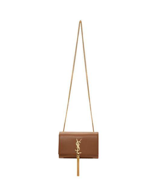 55dc96baaa1 Saint Laurent Brown Small Kate Tassel Bag in Brown - Lyst