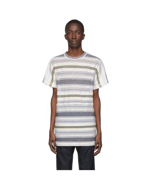 メンズ Jil Sander マルチカラー ストライプ メッシュ T シャツ Multicolor