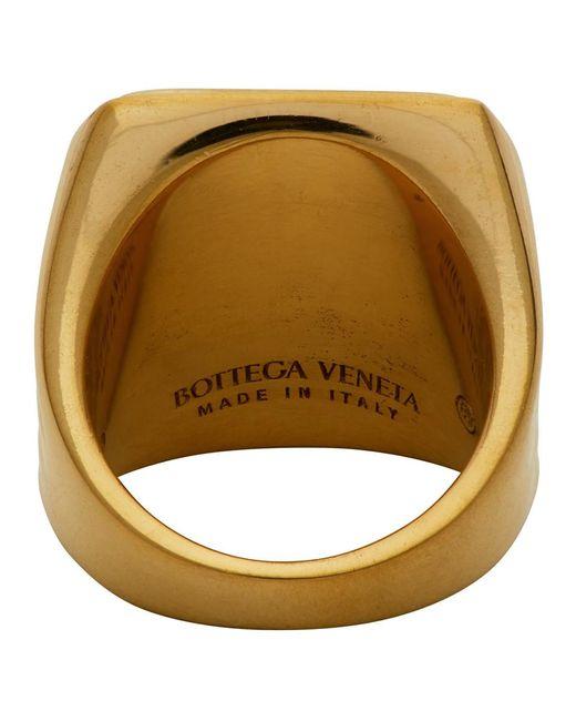 メンズ Bottega Veneta シルバー タイガー アイ リング Metallic