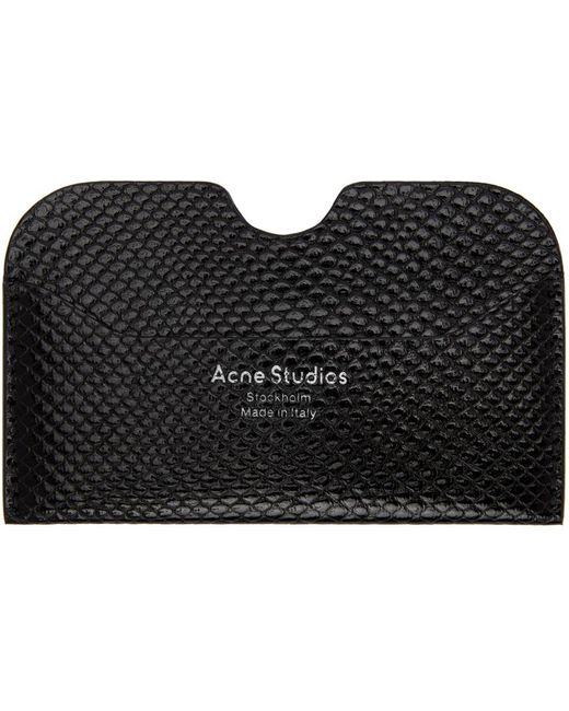 メンズ Acne ブラック スネーク カード ケース Black