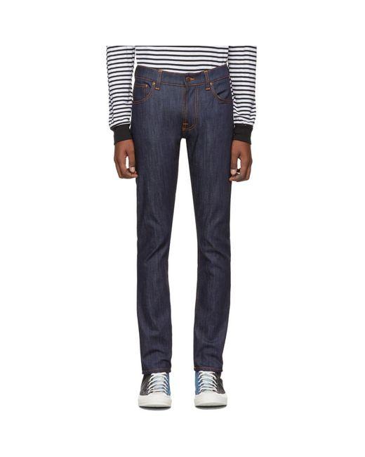 メンズ Nudie Jeans インディゴ Thin Finn Dry ジーンズ Blue