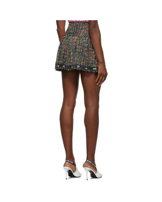 Versace Jeans マルチカラー ツイード プリーツ ミニスカート Multicolor