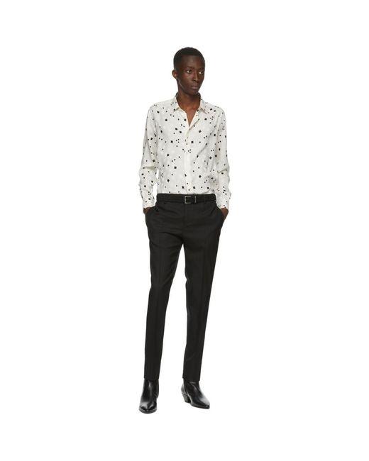 メンズ Saint Laurent ブラック ライト スエード ベルト Black