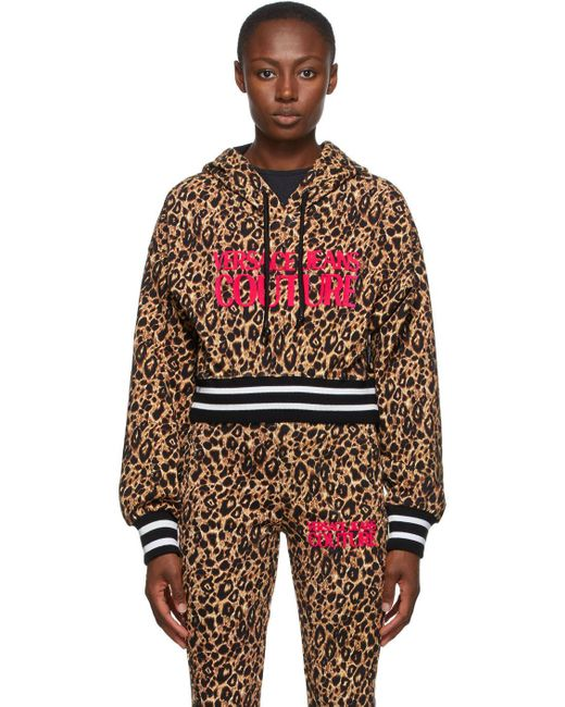 Versace Jeans ベージュ & ブラック レオパード ロゴ フーディ Multicolor