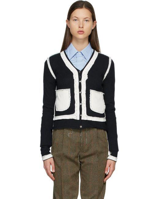 Maison Margiela ネイビー & ホワイト Destroyed V ネック セーター Multicolor