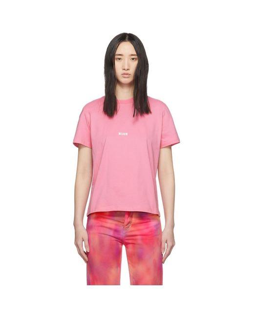 MSGM ピンク ロゴ T シャツ Pink