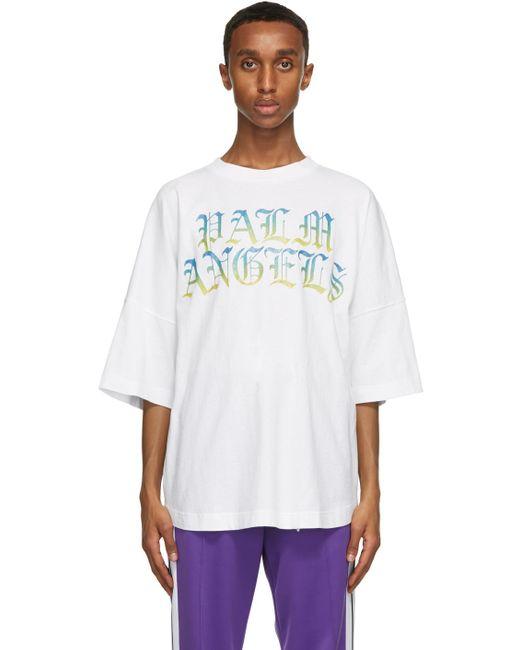 メンズ Palm Angels ホワイト Hue Gothic ロゴ T シャツ White