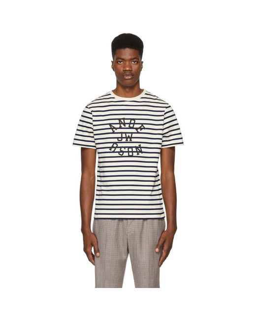 Navy and Off-White Multistripe T-Shirt J.W.Anderson Free Shipping Pictures Outlet Shop Offer NVcgAEa