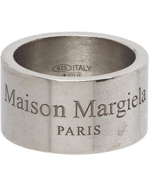 メンズ Maison Margiela シルバー ワイド ロゴ リング Metallic
