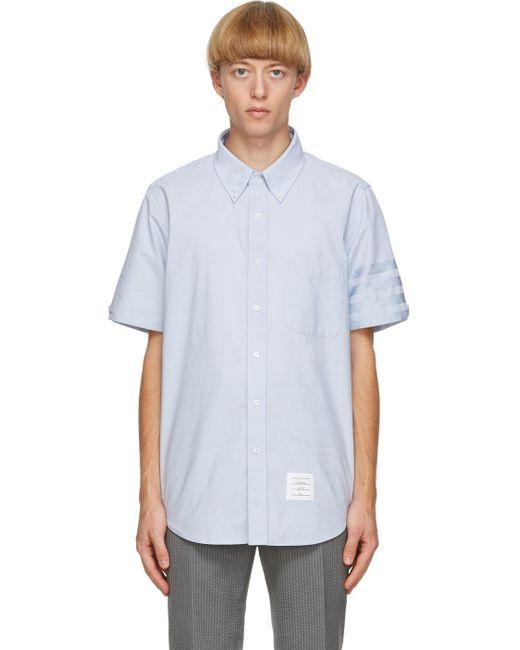 メンズ Thom Browne ブルー オックスフォード クロス 4bar シャツ Blue