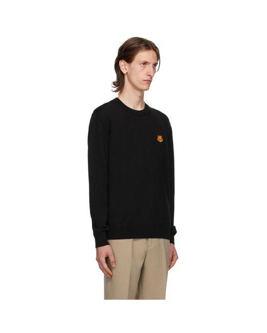 メンズ KENZO ブラック Tiger クレスト セーター Black