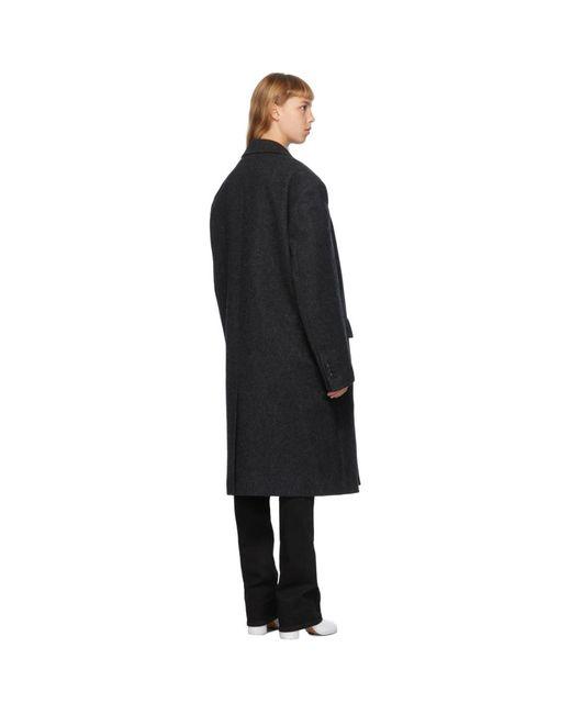 we11done グレー ウール ツーボタン コート Black