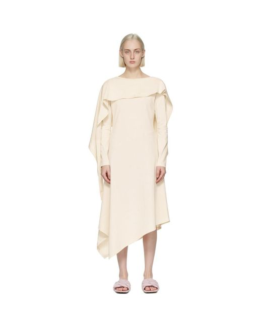J.W. Anderson オフホワイト Draped Asymmetric ドレス White