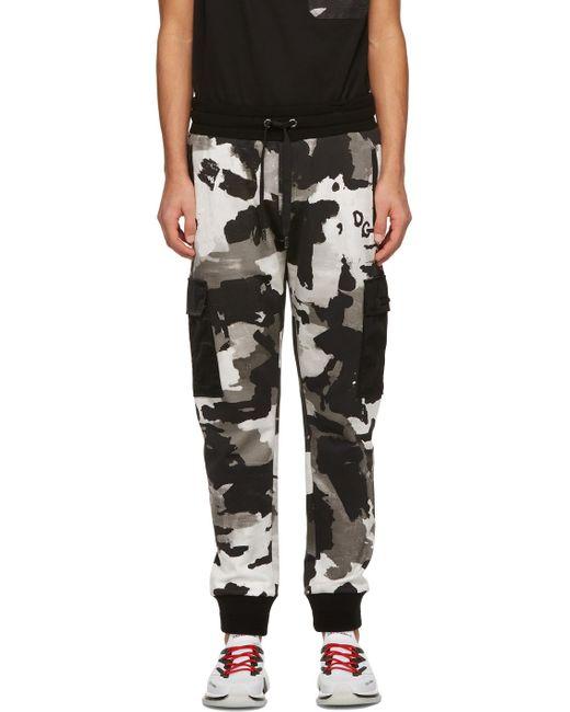 メンズ Dolce & Gabbana ブラック & ホワイト 迷彩 ジョギング カーゴ パンツ Black