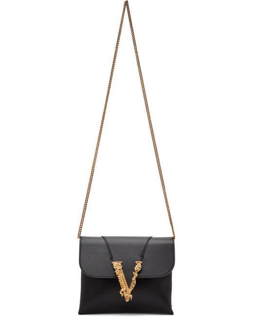 Versace ブラック Virtus Clutch ショルダー バッグ Black