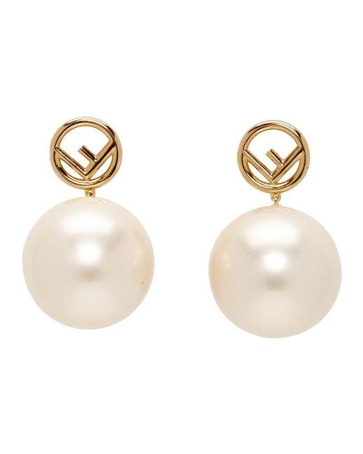 Fendi Multicolor Gold Pearl F Is Earrings