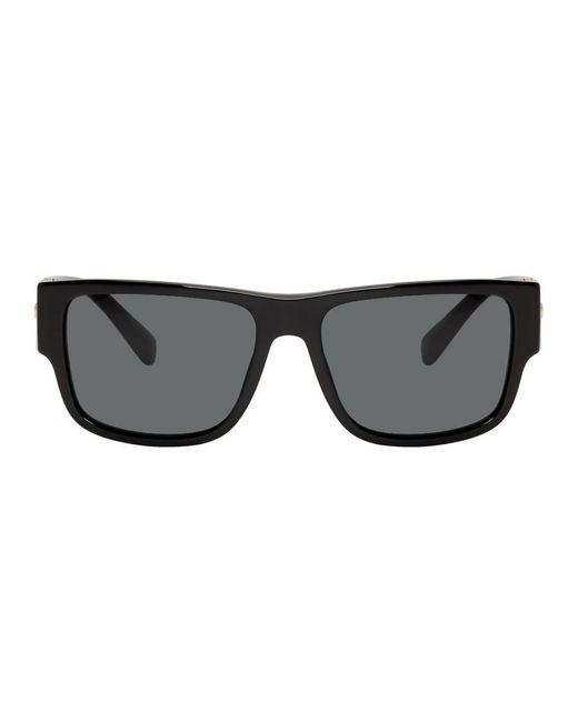 メンズ Versace ブラック And ゴールド ロック アイコン サングラス Black